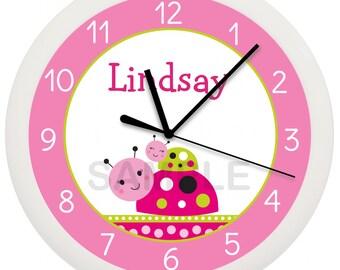 Lil' Ladybug Personalized Nursery Wall Clock