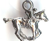 RACEHORSE Charm. Sterling Silver Plated. 3D Race Horse With Jockey. Kentucky Derby. Made in the USA.