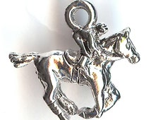 ONE - Sterling Silver Plated Charm. 3D Race Horse. Derby. Jockey. Made in the USA.