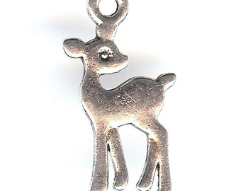 BAMBI DEER Charm. Silver Plated. Two Sided Baby Deer. Faun.