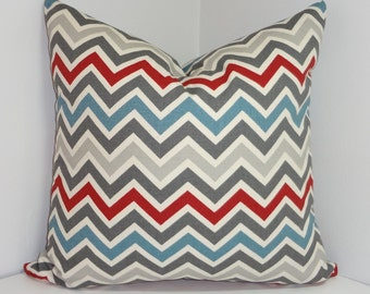 NEW Decorative Pillow Cover Maroon Blue Grey Zig zag Chevron Pillow Covers All Sizes