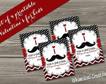 INSTANT DOWNLOAD Mustache Valentine's - Kids Valentines Cards,  (Set of 4 - Mustache Valentine Card) DIY Printable