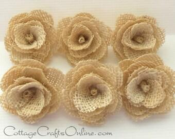 CLEARANCE! Burlap Flower Natural, Jute Cream - EIGHTEEN PIECES - Darice Craft, Fabric Flowers, Wedding Decor,  Embellishment, Rustic Trim