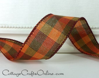 "CLEARANCE! Fall Plaid Wired Ribbon, 1 1/2"", Dark Orange, Olive Green, Cranberry - TEN YARD Roll - ""Knit Plaid No. 9"", Autumn, Thanksgiving"