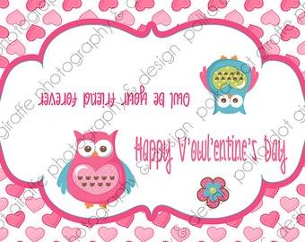 "Owl Valentine Ziplock Bag Topper 6.55"" x 4.5"" {6.55"" x 2.25"" when folded}"