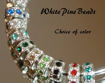 Silver  Plated With Rhinestones Stopper Clip/Lock Bead fits European  Charm Bracelets WhitePineBeads