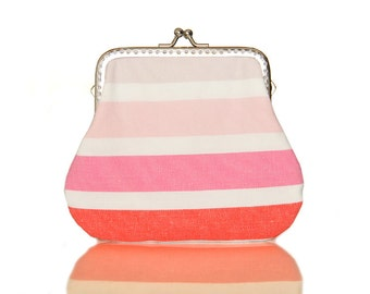 Frame Coin Purse - Fabric Clutch Purse - Pastel Stripes - Silver Frame - Large Pink Purse