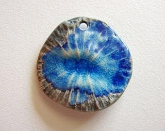 Blue Nebula Pendant Stoneware Clay