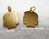 Girl Silhouette Face Charm, Gold Plated Charm/Pendant for Girl, Mother's Day Gift, Gold Plated Engravable Silhouette Charms & Pendants, GIRL