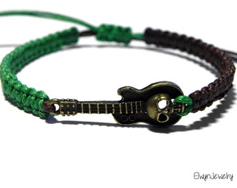 Guitar Bracelet, Mens Jewelry, Brown Cord Bracelet, Music Bracelet, Mens Bracelet, Skull Bracelet, Rope Bracelet, Gift for Him, Mens Gift