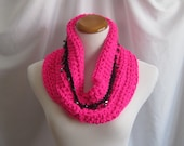 Cowl Beaded Chunky Bulky Crochet Cowl:  Hot Pink & Black Trimmed with Semi-Precious Bead Stones