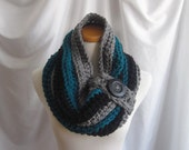 Cowl Chunky Bulky Button Crochet Cowl:  Gray, Teal and Black with Black Wood Button