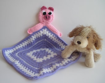 Crochet Granny Square Security Blanket for Baby - Pink Pig with Lavender and White Square