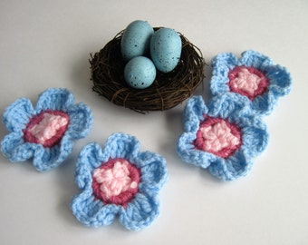 Flower Appliques - Crochet in Baby Blue, Baby Pink and Rose Mauve - Pinwheel Center with Pedals (Set of 4)