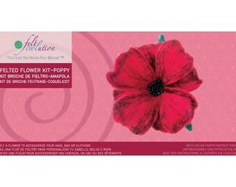 Poppy Felting Kit, Felted Flower Kit, Wet Felting Kit, Felt a Flower Kit, Felted Poppy Pin Kit, Learn to Felt, How to Felt, Felting, Felted