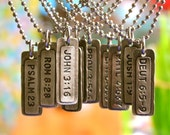 """VerseTag® Pendant   choose from over 25 beloved Bible Verses on necklace or keyring   rustic pewter   single or set   1 3/8"""" x 3/8"""""""