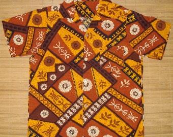 Mens Vintage Tribal Tapa Tiki Hawaiian Aloha  Shirt - S - The Hana Shirt Co