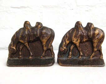 Horse Bookends Western Book Ends Vintage Brass Horses Cabin Library Office Decor