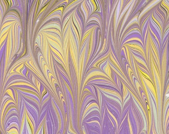 Marbled Paper, handmade 19x25in (48x64cm), lavender thistle pattern