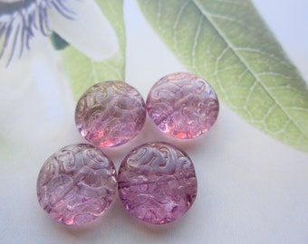 Amethyst Czech Brocade Beads 4Pcs.