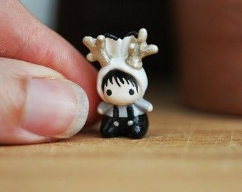 Miniature clay Jackalope - The Tiny Hat Babies series
