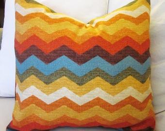 Waverly Panama Wave Pillow Cover,  Various Sizes, Decorative Chevron Pillow Cover, Orange, Golds, Yellows, Aqua