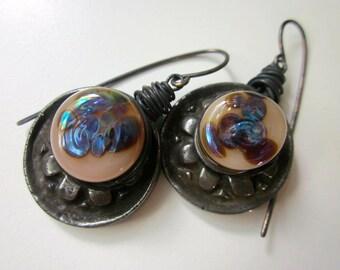 Architect of Darkness - primitive junkyard industrial sci fi rusty steel cog, iridescent peach violet lampwork glass, & copper earrings