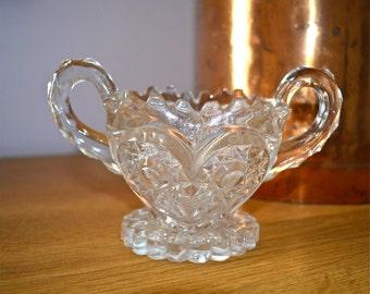 Early American EAPC Prescut Glass Starburst Design Sugar Bowl