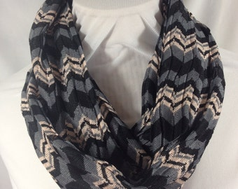 Chevron Infinity Scarf, Black and Gray Knit Circle Scarf,  (itm183)