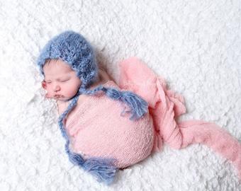knitted mohair bonnet