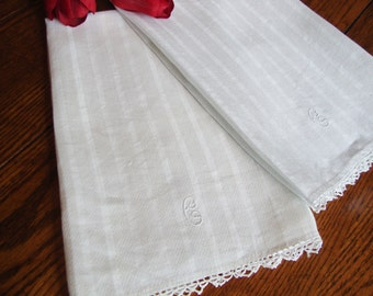 White Linen Towels Pair of  Silky Damask Towels Guest Towels Show Towels  Tea Towels