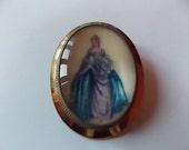 Vintage Gold Painted Lady T L  Mott Brooch Pin So Pretty SALE