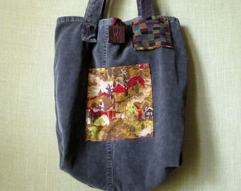 Tote Bag book bag library bag gray corduroy market shopping upcycled repurposed recycled eco green artsy ooak one of a kind patchwork
