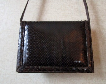 Shoulder Bag Envelope Style Clutch Bag dark chocolate brown leather vintage 70s long strap purse snakeskin reptile high fashion glam