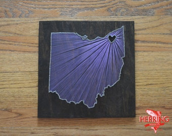 Stained Ohio State String Art -Cleveland, Ohio - Stained Nail Art - Ohio State Buckeyes - Columbus, OH
