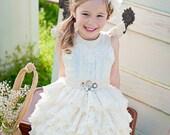 Vintage Inspired Cream Flower Girl Dress, birthday dress
