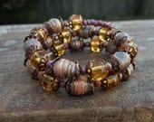 Autumn colors Paper bead memory wire bracelet ~ one of a kind jewelry
