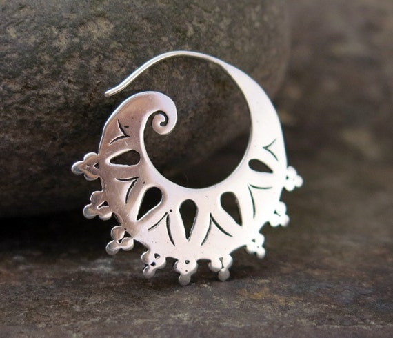 Tribal Spiral Silver Earings