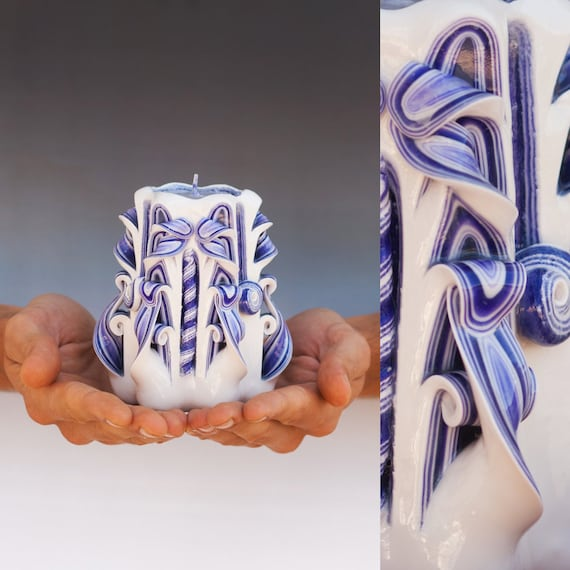 Candles - Carved candle - Purple candle - White candle -  Small candle