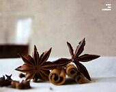 Glass of wine, muled wine, food photographym kitchen decor, anise, cinamon,warm, brown, 10x8, giclee, titled: Muled Wine II