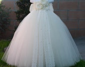 Flower girl dress. All Ivory tutu dress. tulle dress,wedding,clothing,girl flower dress,vintage dress,lace dress, Price does not include bow