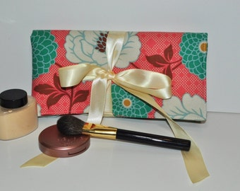 Boho Floral Makeup Brush Roll // Large Coral and Teal Brush Organizer - Makeup Tool Storage - Beauty Gift for Her - Made to Order