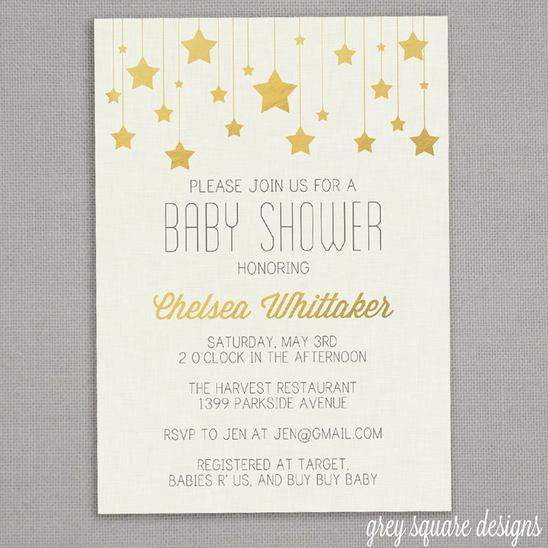 Baby Shower Invitation Gold Stars By Greysquare On Etsy