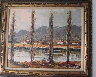 "VINTAGE 1971 MORRIS KATZ painting ""Houses on a Lake""."