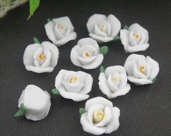 15 pcs Rose Ceramic 10mm,White /  White  Centre(FCN-20R)