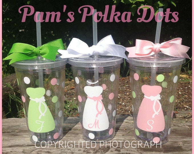 Personalized 16 oz. Clear BRIDE & BRIDESMAID TUMBLER Dress Initial Polka Dots for Bridal Bachelorette Gifts Wedding Party