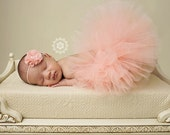 Newborn tutu set -  baby girls - peach and matching flower headband - with pearls rhinestones