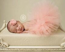Newborn tutu set -  baby girls - peach and matching flower headband - with pearls rhinestones
