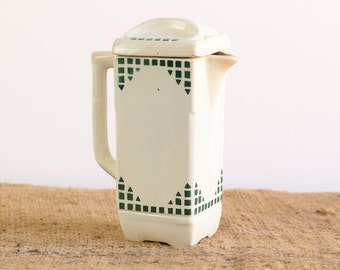 A Rustic Vintage French Earthenware Pitcher with Lid