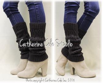 Leg Warmers, SIMPLE ELEGANCE, knit, crochet, knitted, basic, women, slouch, boots, cuffs, Dark Grey | LW0